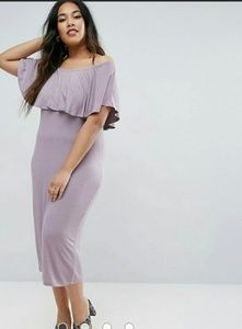 NEW ASOS Curve Ruffle Bardot Midi Dress 18 2X
